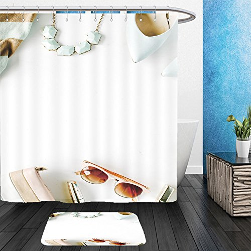 Vanfan Bathroom 2Suits 1 Shower Curtains & 1 Floor Mats flat lay feminini clothes and accessories collage with cardigan trousers sunglasses watch 444968665 From Bath - Sunglasses Ebay Retro