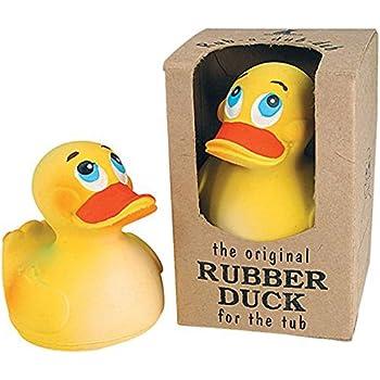 """Rich Frog Sitting Rubber Duck Children's Bath Toy, Yellow - 4"""""""