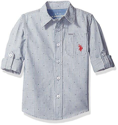 U.S. Polo Assn. Little Boys' Long Sleeve Printed Cotton Woven Sport Shirt, Blue, (Button Up Woven Sport Shirt)