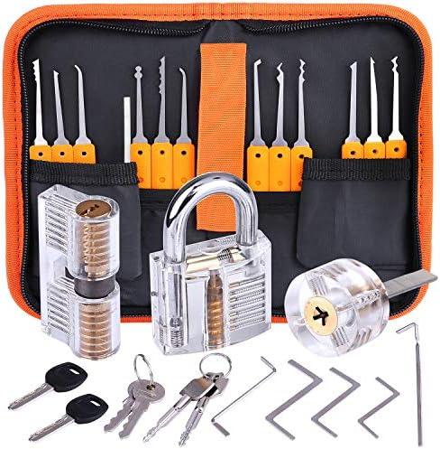 [Gesponsert]Lockpicking Set, Dietrich Set - 24 Stück Lock Pick Training Set mit 3 Transparentem Trainingsschlössern für Anfänger und Profis Schlosser
