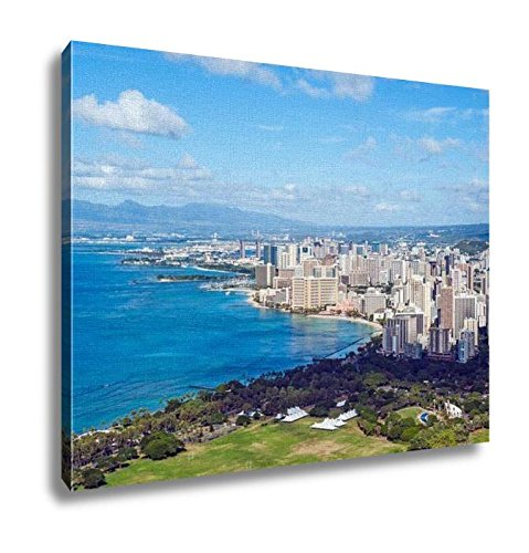 Ashley Canvas, View Of Waikiki Beach In Honolulu Hawaii, Home Decoration Office, Ready to Hang, 20x25, AG6402391 by Ashley Canvas