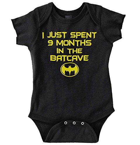 Brisco Brands 9 Months Batcave Funny Comic Book Hero Baby Romper Bodysuit