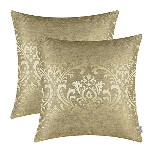 - CaliTime Pack of 2 Throw Pillow Covers Cases for Couch Sofa Home Decoration Vintage Damask Floral Shining & Dull Contrast 18 X 18 inches Gold