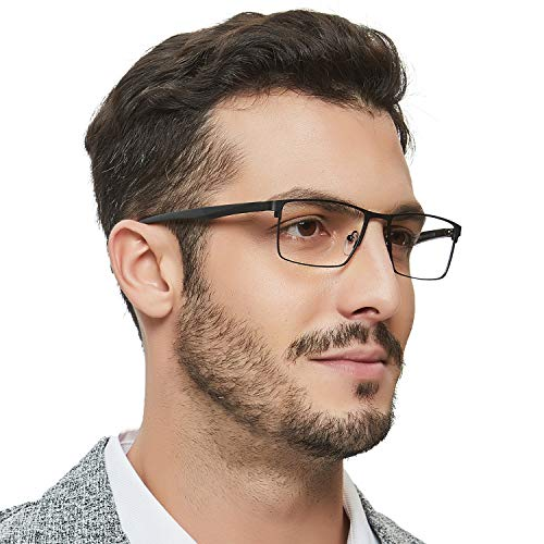 - OCCI CHIARI Optical Eyewear Non-prescription Eyeglasses Metal Spring Hinge Rectangle Glasses Frame For Men TR90 (Black)