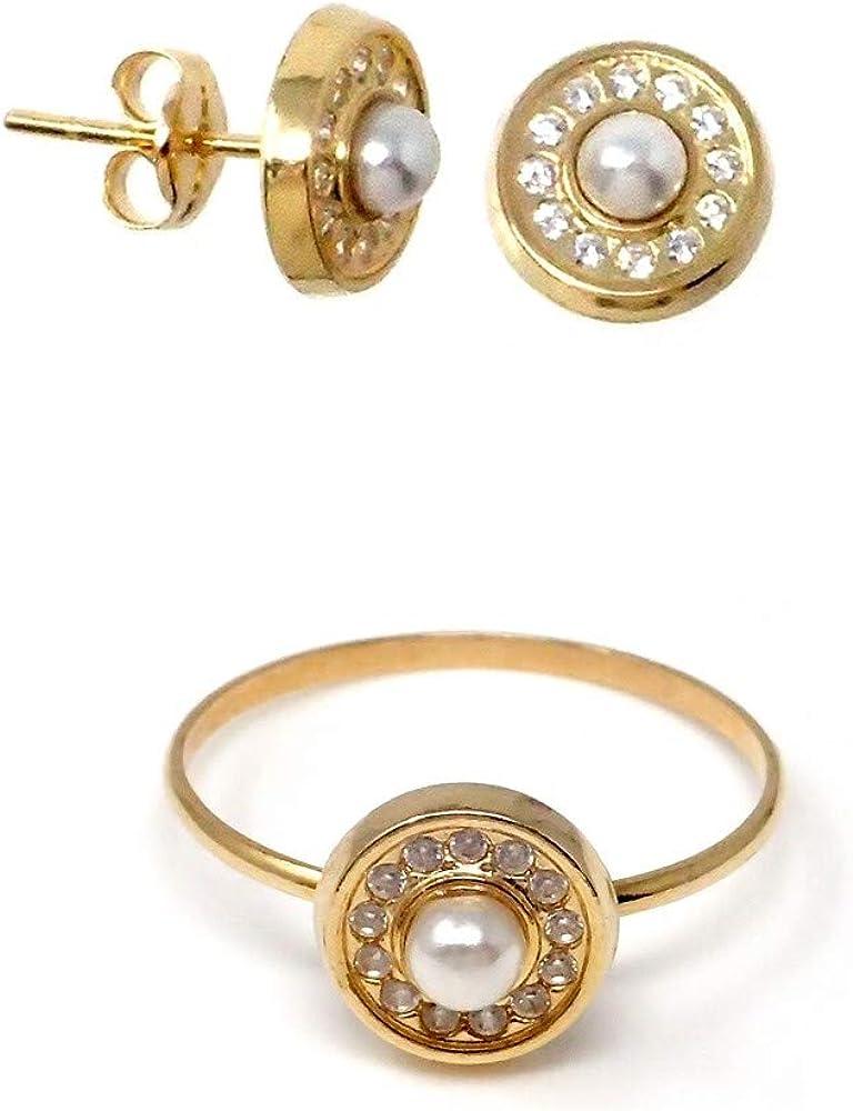 Juego Oro 18K Primera Comunión Niña Pendientes Presión Sortija Perlas Cultivadas Círculo Circonitas