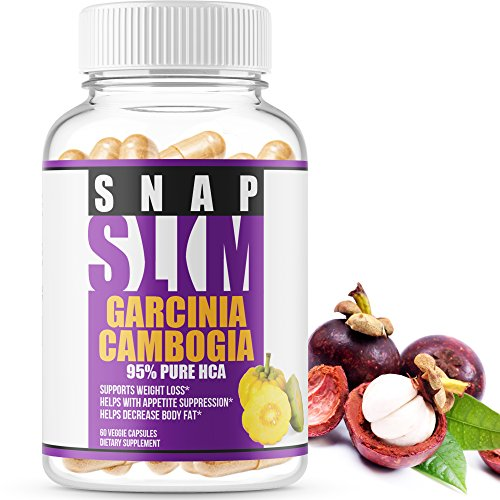 Snap Slim - Garcinia Cambogia (95% Pure HCA) #1 appetite suppressant & weight loss pills - 30 days supply - Highest potency (1400mg) - Most powerful Carb Blocker, Fat Burner & Metabolism Booster