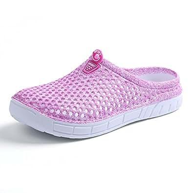 BADIER Women Mesh Summer Breathable Slippers Beach Garden Clog Sandals Shower Footwear Water Shoes Walking Anti-Slip Shoes Pink 41