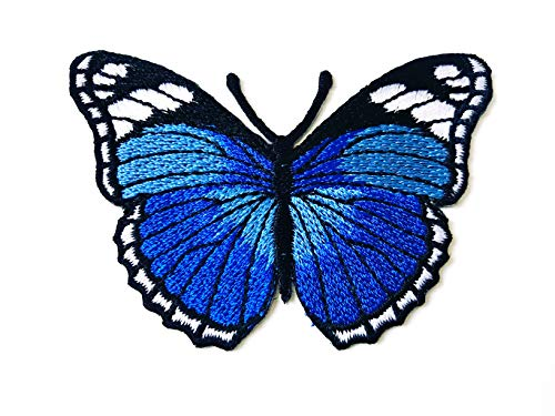 Tyga_Thai Brand Butterfly Blue Color Retro Beautiful Logo Iron on sew on Patch Jacket T Shirt Patch Sew Iron on Embroidered (Iron-Butterfly-Blue)