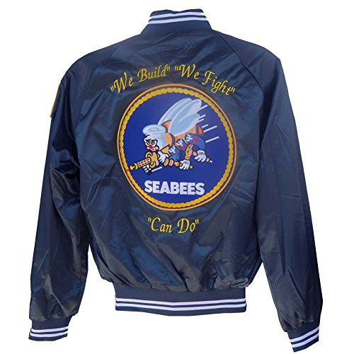 Seabees Satin Jacket with ''We Build'' ''We Fight'' ''Can Do'' Extra Large by Honor Country