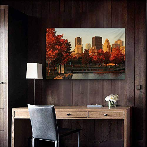 duommhome City Wall Art Decor Poster Painting Old Port of Montreal Early in The Morning Scenic Autumn Trees Buildings Canada Decorations Home Decor 35