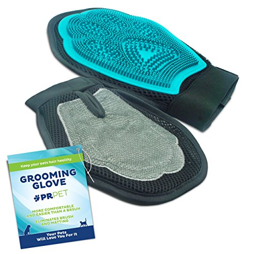 PR Pet 2 in 1 Dog and Cat Grooming Brush Glove Stops Shedding and Removes Hair From Your Home
