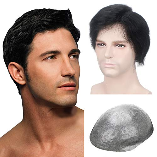 Lordhair Thin Skin Toupee for Men Men's Hair Pieces Replacement System Jet Black Color #1 Human Hair Mens Wig