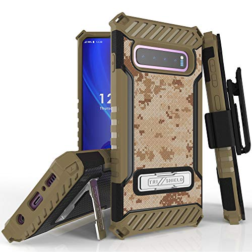 Trishield Series for S10 Case, Military Grade Rugged Cover + [Metal Kickstand] + Belt Clip Holster for Samsung Galaxy S10 (2019)- TAN Digital CAMO