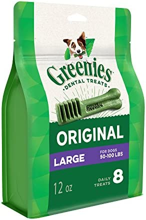 GREENIES Original Large Dog Natural Dental Treats – 12 Ounces 8 Treats