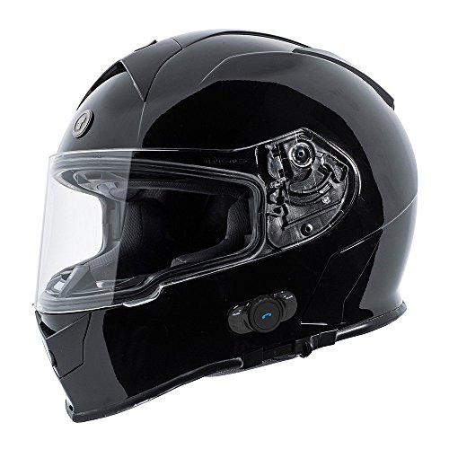 TORC T14B Bluetooth Integrated Mako Full Face Helmet (Gloss Black, - Helmet Face Gloss Full