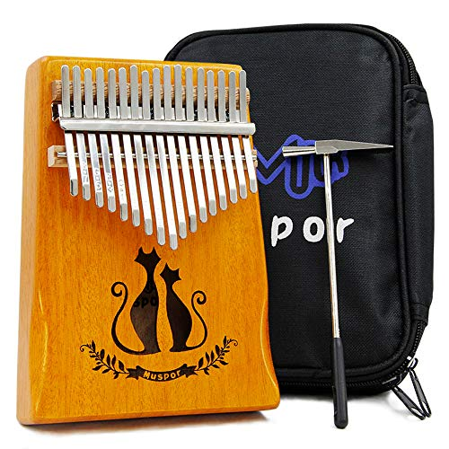 Thumb Piano Kalimba 17 Key with Study Instruction And Tune Hammer Portable Musical Instruments Gifts for Adult Kids And Beginners (Double cat)