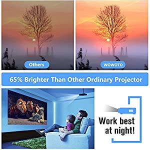 WOWOTO H8 Video Projector DLP LED 1280x800 HD 3D Support 1080P Android  System WiFi&tooth Home Theater Portable Mini Cinema USB AV SD HDMI Game