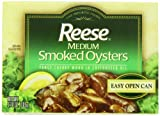 Reese Medium Smoked Oysters, 3.7-Ounce, 10-Count Cans