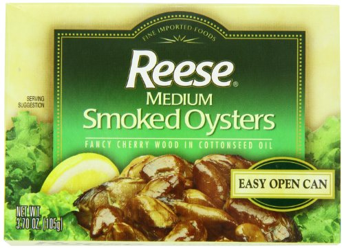 Reese Medium Smoked Oysters, 3.7-Ounce, 10-Count - Oysters Fish