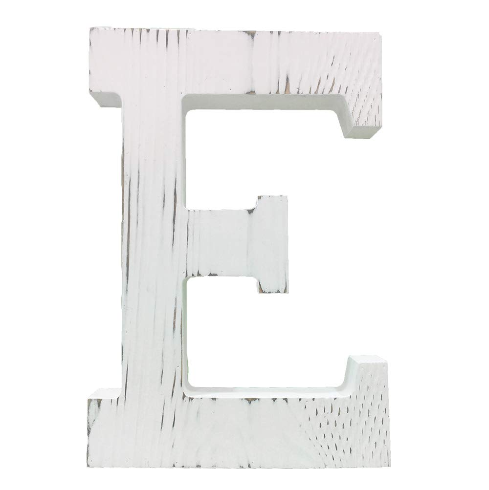 Extra Large Wood Decor Letters Wood Distressed White Letters DIY Block Words Sign Alphabet Free Standing Hanging for Home Bedroom Office Wedding Party (E)