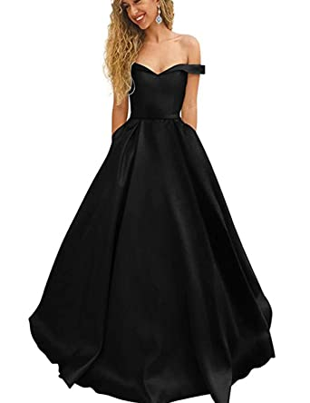 39f59855392 CIRCLEWLD Women s Long Satin Prom Dresses Off The Shoulder Evening Gown  with Pockets Black Size 2
