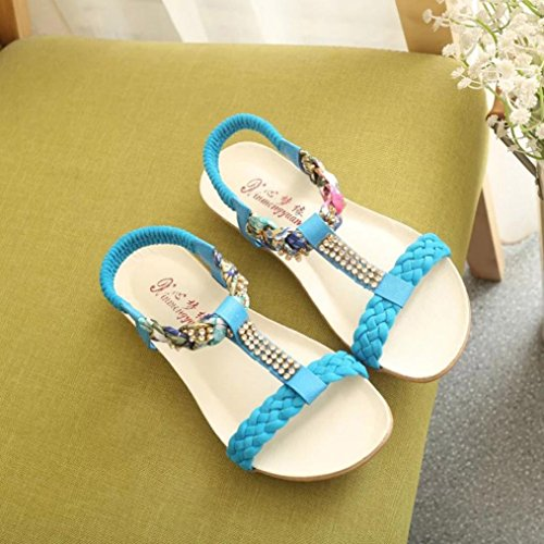 Women Sandals Flat Elastic Ladies Summer Blue Comfortable Leisure Sandals Strap Transer Shoes nX6S00