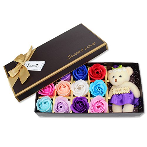 Rose Flower Soap With Floral Scen for Bath & a White Cute Teddy Bear - Idea for Valentine's day Gift For Mother, Wife or Girlfriend