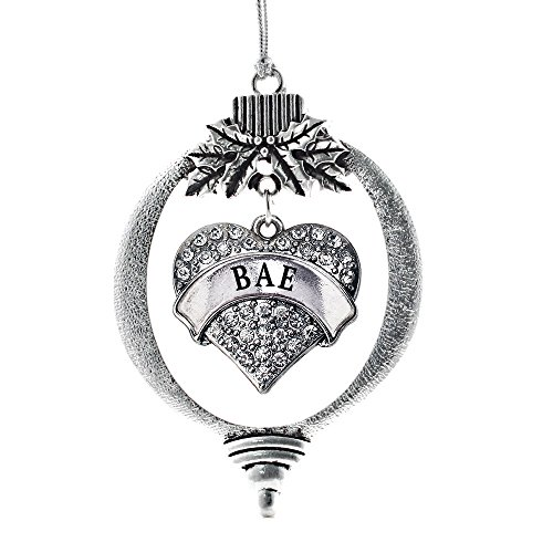 Inspired Silver - Bae Charm Ornament - Silver Pave Heart Charm Holiday Ornaments with Cubic Zirconia Jewelry