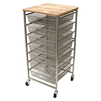 Image of Home and Kitchen Tim Holtz Idea-ology Signature Design Industrial Storage Cart, 33.5' x 15.75' x 15.75' (CH93520)