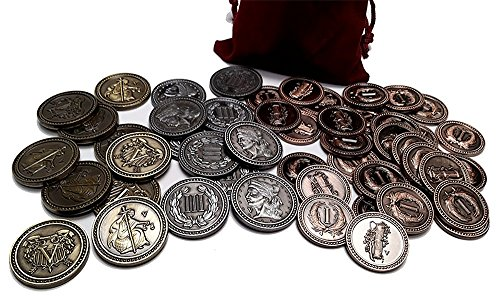 Top Shelf Gamer Gaming Metal Coins: Colonial Set in Burgundy Bag (set of 50) by Top Shelf Gamer