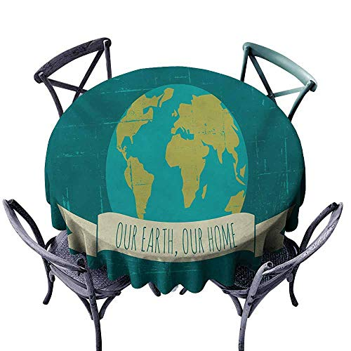 VIVIDX Anti-Fading Tablecloths,Quote,Sustainable Lifestyle Environment Friendly Slogan Our Earth Our Home,for Events Party Restaurant Dining Table Cover,60 INCH,Teal Yellow Green and Cream (Top 100 Slogans On Environment For All Occasions)