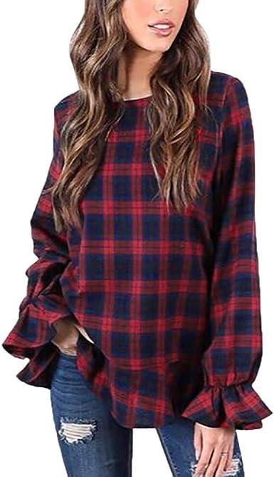 Blusa De Cuello Redondo Moda Cuadros De A Modernas Casual ...