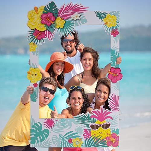 Luau Photo Booth Props Frame Party Supplies - Hawaiian Tropical Tiki Pool Birthday Theme Party's, Wedding Backdrop, Bridal or Baby -