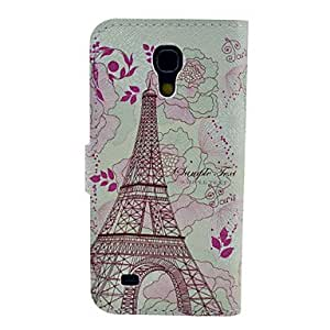 zxc Tower with Flower Pattern PU Leather Soft Case with Card Slot and Stand for Samsung Galaxy S4 mini I9190