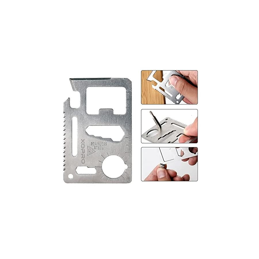 Credit Card Tool 11 in 1 Credit Card Multitool Knife Saw By XOPRO. Wallet Survival Tool With Knife Saw Blade. The Perfect Stocking Stuffer!