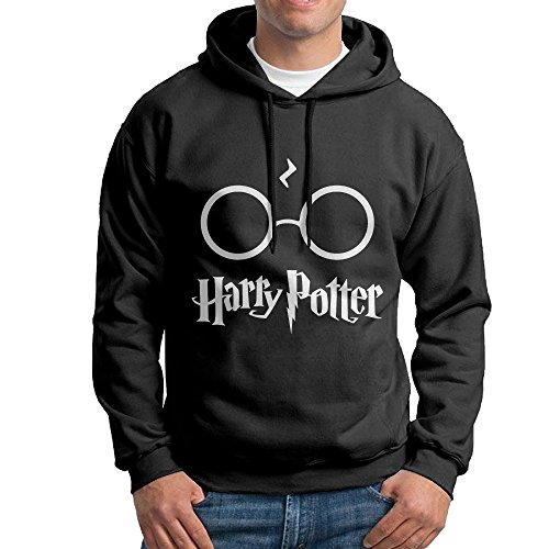 [Harry Potter With Glasses Pullover Hooded Men Black Sweatshirt Hoodie] (Hermione Granger Costume Casual)