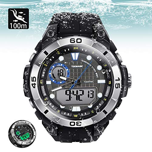 TEKMAGIC 10ATM 100m Outdoor Waterproof Sports Watch for Swimming with Back Light Stopwatch Chronograph Function Support Dual Time Zone (W17-Y) ()