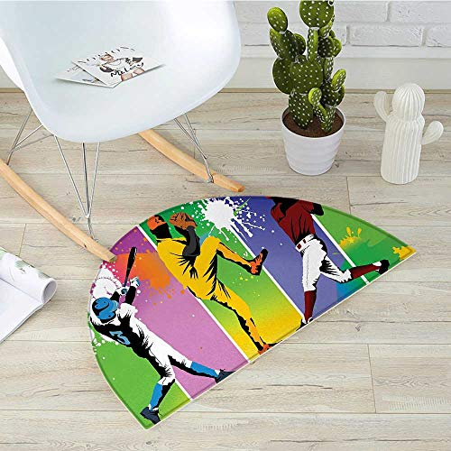 (Baseball Half Round Door mats Players in Different Positions in Playground Action Catcher Pitcher Modern Sports Bathroom Mat H 43.3