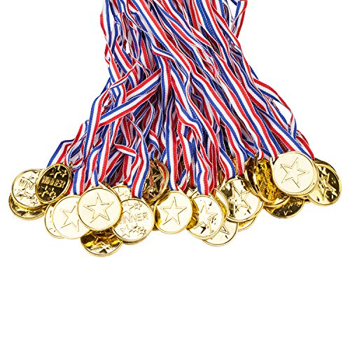 100 Packs Children's Gold Plastic Winner Medals Kids Golden Winner Awards Medals