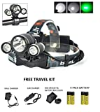 zr headlight cover - ZORROO 3XML-T6 LED Headlight Headlamp Rechargeable,Adjustable,4 Modes for Bike Lamp,Camping,Hiking,Cycling,Hunting & Fishing;2 x 18650Mah Rechargeable Batteries+AC Charger+Car Charger (ZR-1155-GREEN)