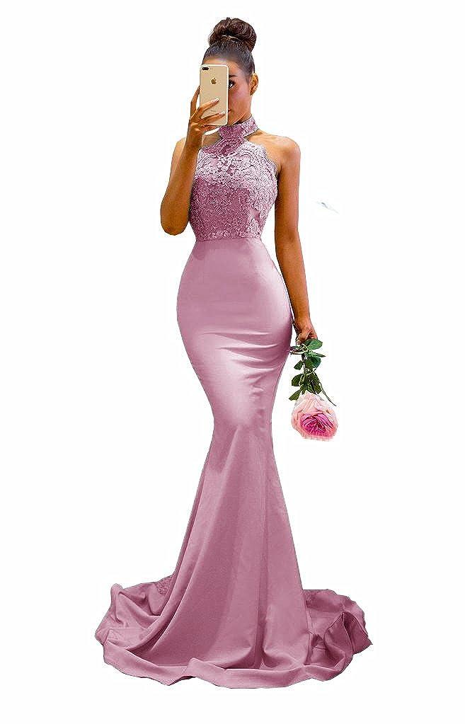 bluesh MariRobe Womens Halter Neck Mermaid Appliques Lace Long Bridesmaid Dress Formal