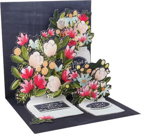 3D Pop Up Greeting Card Mason Jars Happy Mother's Day