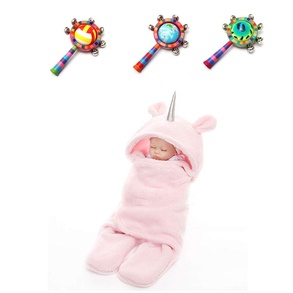 Newborn Warm Unicorn Fleece Sleeping Bag Wrap Blanket Sleepsacks Baby Swaddle Photography Prop for 0-12 months +Wood Handbell Halloween Decoration Sweetheart -LMM
