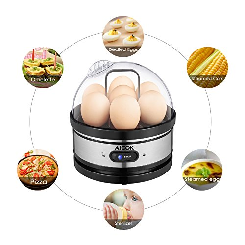 Aicok Egg Cooker, Egg Boiler, Electric Egg Maker with Steamer & Poacher Attachment, Egg Steamer Stainless Steel 7 Egg Capacity With Removable Tray & Auto Shut Off Feature (Steamer Egg Electric)