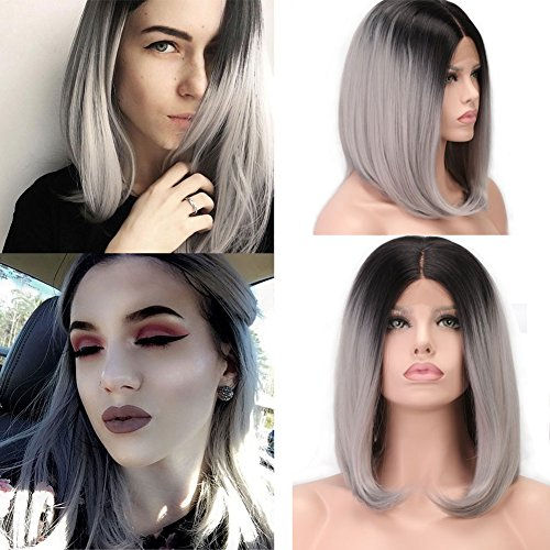 Synthetic Ombre Wigs Lace Front Black to Gray Dark Roots Straight Middle Part Wig for Women