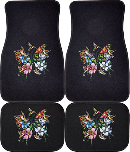 Express Yourself Products Hummingbird Butterfly (Black, Rears) Car and Truck Front and Rear Mats - Set of 4 (Decorative Car Floor Mats)