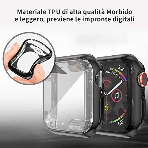 [8 Pezzi] Custodia Protettiva per Apple Watch Compatibile con Apple Watch Series 6/5/4/SE 40mm, Caso in Gel Silicone Morbida in TPU, Chiaro, Anti-Graffio, per Apple Watch Serie 6/5/4/SE