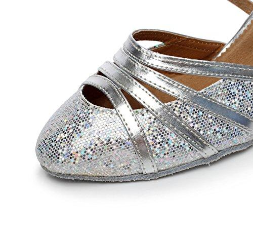 UK2 Haut Talon Fermé Salsa de PU Paillettes Latine Our33 Chaussures Womens heeled8cm Danse Tango 5 Toe Ballroom Cuir Silver EU32 JSHOE 5IqxtT8wt