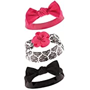 Yoga Sprout Baby 3 Pack Bow Baby Headbands, black damask, 0-24 Months