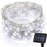 Fenebort 72 ft 200 LED Solar Strings Lights, Outdoor & Indoor Decorative Lights Bedroom, Garden, Patio, Parties(Multicolor,Warm White, Warm Yellow) (White)